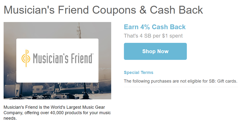 musicians friend cash back